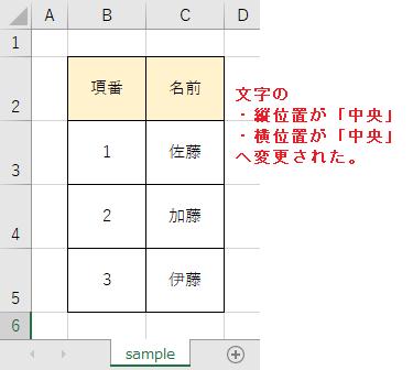 変更後(縦位置は中央、横位置は中央になった)