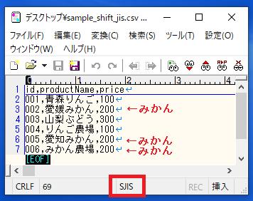 文字コードは「Shift_JIS」