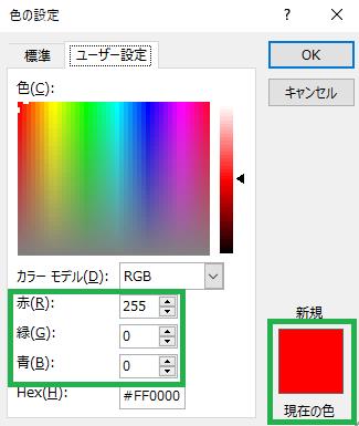 赤は「RGB(255, 0, 0)」