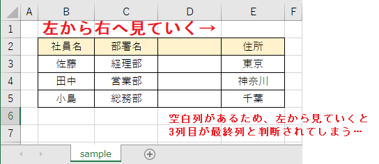 3列目(=C列)が最終列と判断されてしまう